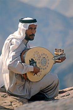 Bedouin with his music instrument, Petra