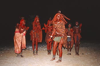 Himba girls dancing in the evening